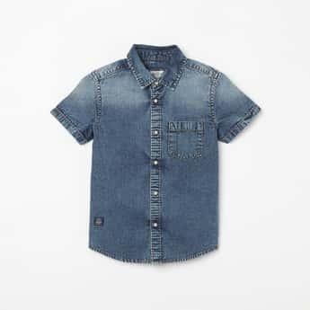 PEPE JEANS Washed Half-Sleeves Denim Shirt
