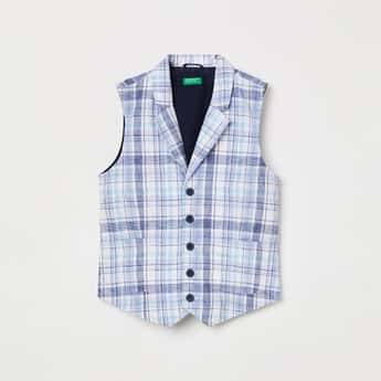 UNITED COLORS OF BENETTON Boys Checked Waistcoat with Notched Lapel