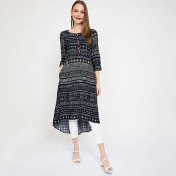MELANGE Printed High-Low A-line Kurta