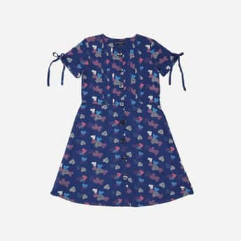 ALLEN SOLLY Printed Pleated Dress