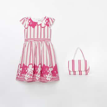 PEPPERMINT Floral Print Striped A-line Dress with Handbag