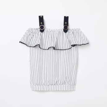 PEPPERMINT Striped Cold-Shoulder Blouson Top with Bobble Trim