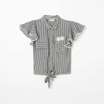 PEPPERMINT Striped Flutter Sleeves Shirt with Tie-Up