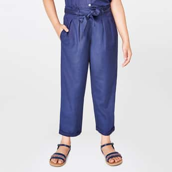 GLOBAL DESI Solid Pleat-Front Pants with Sash Tie-Up