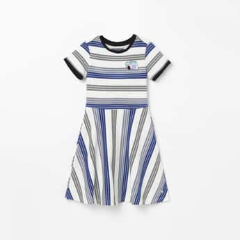 ALLEN SOLLY Striped Short Sleeves A-line Dress