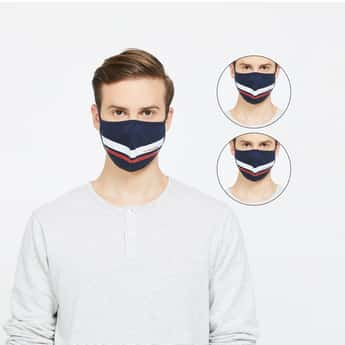U.S. POLO ASSN. Men Textured 3-Layered Reusable Face Masks - Pack of 3