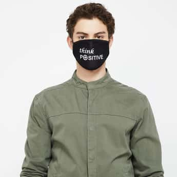 FAME FOREVER Men Typographic Print Reusable Mask