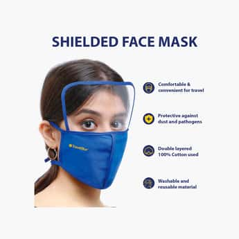 TRAVEL BLUE Unisex Solid Reusable Shielded Face Mask