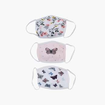 TONIQ KIDS Girls Printed 3-Layered Reusable Mask - Pack of 3 Pcs.