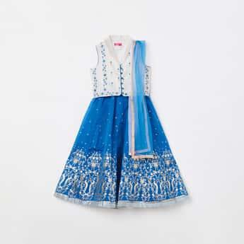 BIBA Girls Embroidered Blouse with Printed Lehenga and Dupatta