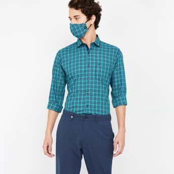 VH SPORTS Men Checked Slim Fit Casual Shirt with Mask