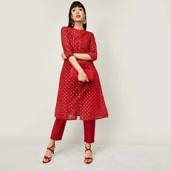 MELANGE Women Embroidered Kurta with Solid Salwar