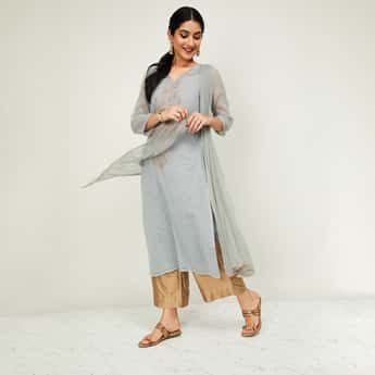 MELANGE Printed Kurta with Solid Palazzos and Crinkled Dupatta