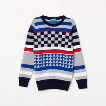 UNITED COLORS OF BENETTON Boys Checked Crew Neck Sweater