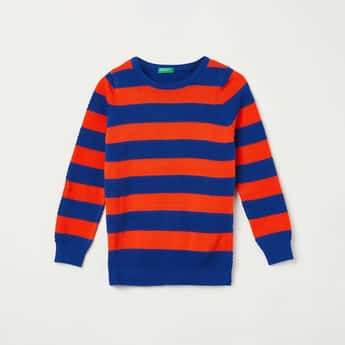 UNITED COLORS OF BENETTON Boys Striped Full Sleeves Sweater