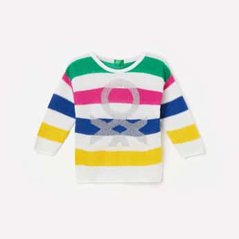 UNITED COLORS OF BENETTON Girls Textured Full Sleeves Sweater