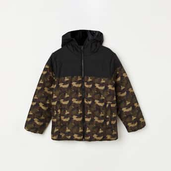 UNITED COLORS OF BENETTON Boys Camouflage Print Hooded Puffer Jacket