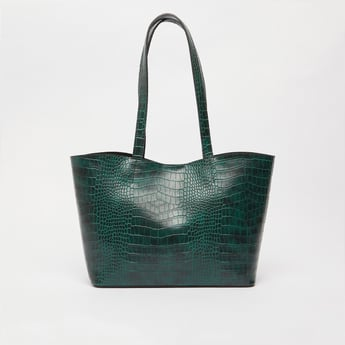 Textured Tote Bag with Button Closure and Short Handles