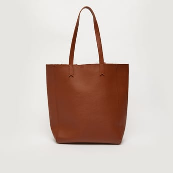 Solid Tote Bag with Twin Handle and Magnetic Snap Closure