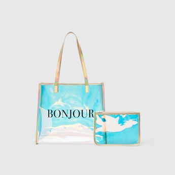 Text Print Handbag with Twin Handle