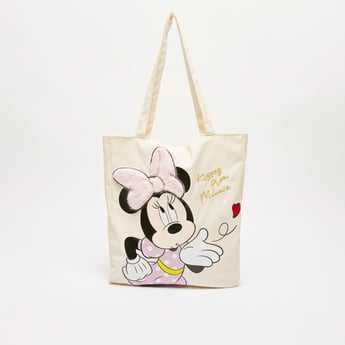 Minnie Mouse Print Tote Bag with Textured Bow Detail