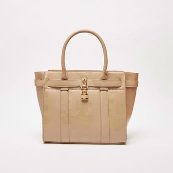 Textured Tote Bag with Metal Accent and Zip Closure