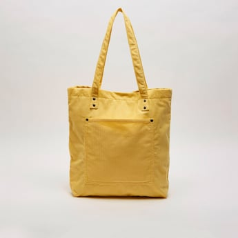Textured Tote Bag with Double Handles