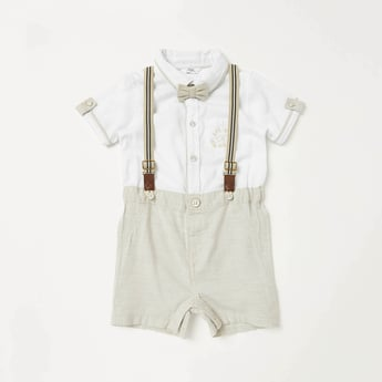 Woven Short Sleeves Romper with Suspenders and Button Closure