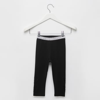 Solid Heart Applique Leggings with Textured Elasticised Waistband