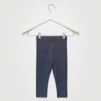 Skinny Fit Textured Leggings with Elasticised Waistband