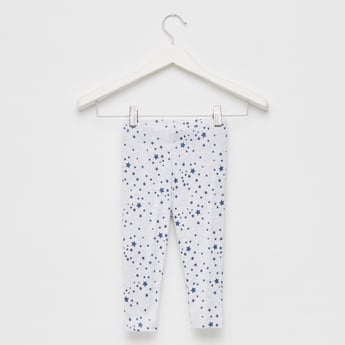 Star Print Mid-Rise Leggings with Elasticated Waistband