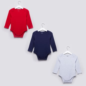 Set of 3 - Textured Bodysuit with Long Sleeves and Snap Button Closure