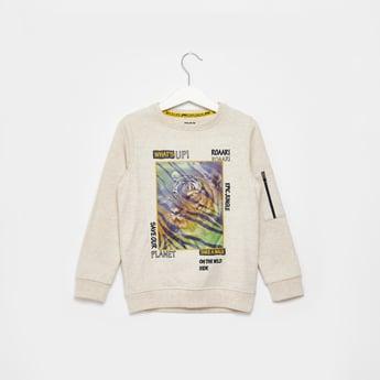 Printed Sweatshirt with Long Sleeves and Zip Detail