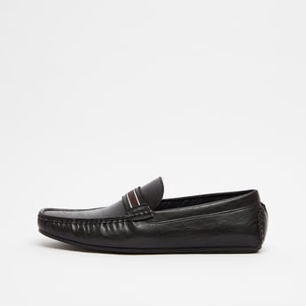 Textured Slip-On Shoes with Tape Detail