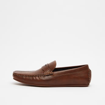 Textured Slip-On Shoes with Perforations