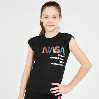 NASA Print T-shirt with Cap Sleeves