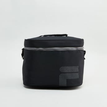 Textured Lunch Bag with Sling Strap and Zip Closure