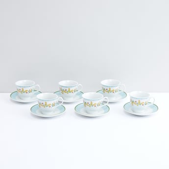 Printed Cup and Saucer - Set of 6