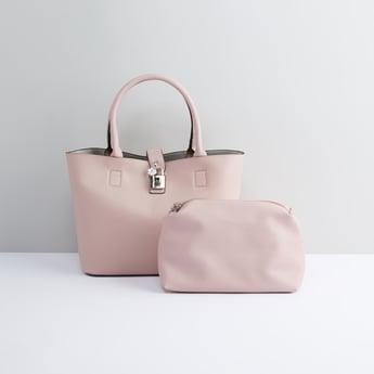 Metallic Detail Handbag with Pouch