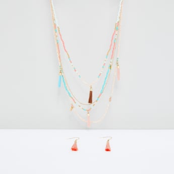 Beaded Tassel Detail Necklace and Earrings Set