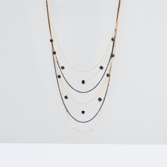 Studded Multilayer Necklace with Lobster Clasp