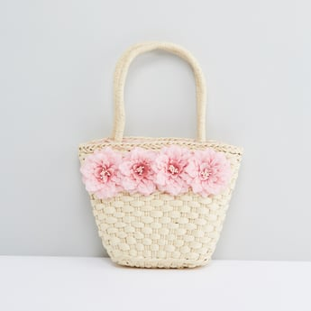 Flower Applique Detail Handbag with Twin Handles