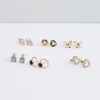 Studded Earrings with Pushback Closure - Set of 6