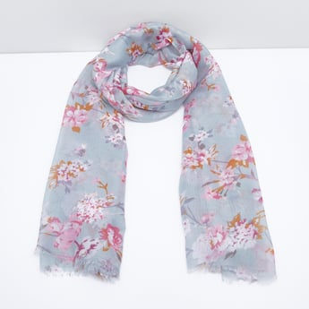 Floral Printed Rectangular Scarf with Fringe Detail