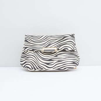 Printed Satchel Bag with Magnetic Snap Closure and Metallic Chain
