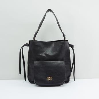 Solid Handbag with Shoulder Strap