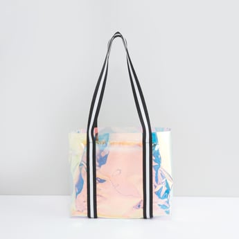 Textured Handbag with Striped Twin Handles and Pouch