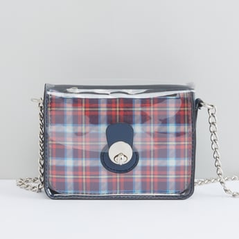 Checked Handbag with Twist and Lock Closure