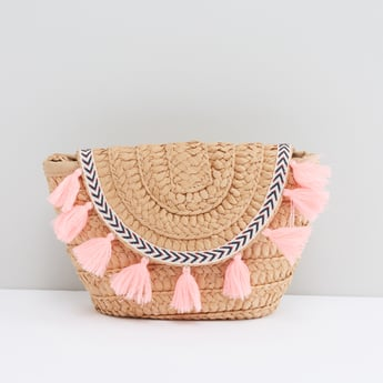 Textured Satchel Bag with Tassels