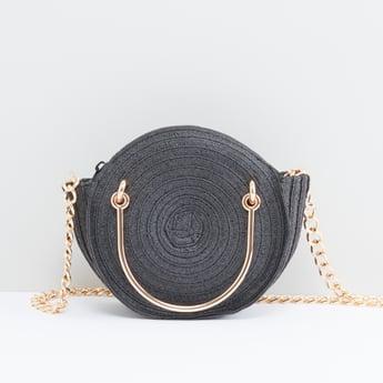 Textured Round Handbag with Metallic Chain
